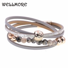 WELLMORE two Layer leather bracelet fashion jewelry beaded bracelets charm for women Bohemian wholesale