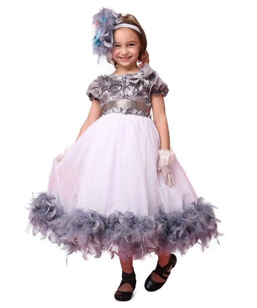 Girls Pageant Formal Dresses 2018 SHortsleeve Rose Flowers Bow Gauze Kids Party tutu Dress Children's Long Dress Party Dancewear