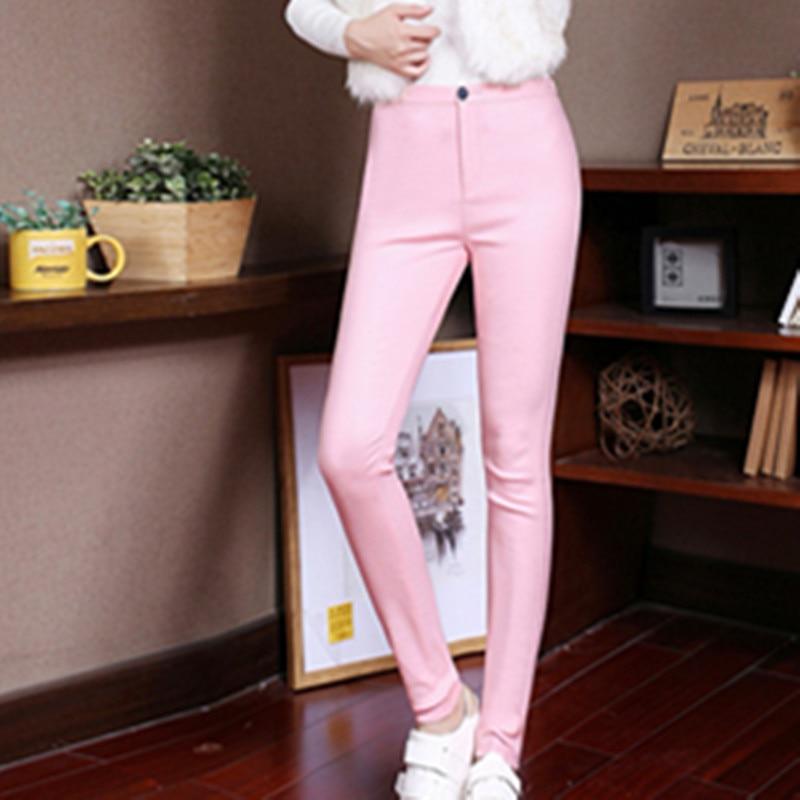 2018 printemps automne mince enduit pantalon en cuir artificiel femme slim Leggings porter jeans femmes jambières d'exercices - 2