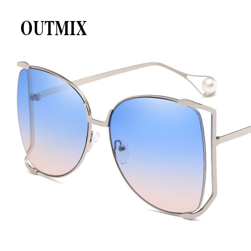 415605f0bb7 Detail Feedback Questions about Retro Pink Sunglasses Oversized Luxury  Silver Gold Half Frame Square Sun Glasses Faux Pearl Decos Female Clear  Shade Glasses ...