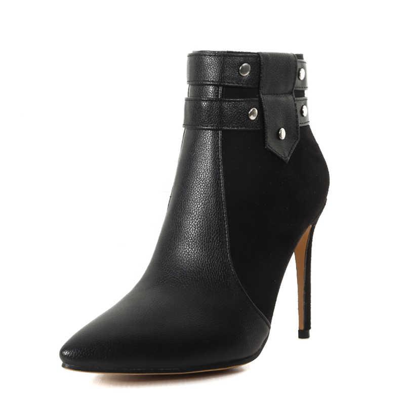 WETKISS Yüksek Topuklar Kadın yarım çizmeler Sivri Burun Pu Ayakkabı Perçin Kadın Çizme parti ayakkabıları Kadın 2019 Kış Artı Boyutu 32- 46