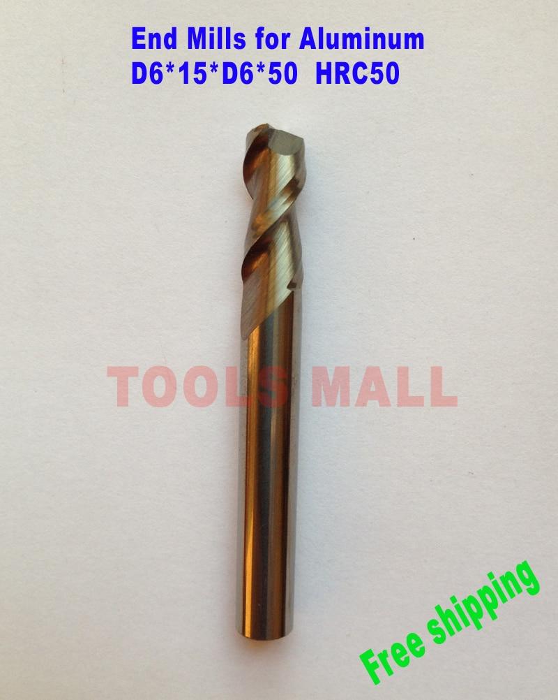 Free shipping - 5pcs 6mm 3 Flutes Aluminium Milling Tools Carbide CNC Endmill Router bits hrc50 D6*15*D6*50 1pcstungsten aluminium end mill cutter 16mm 3 flutes cnc endmill router bits carbide milling tools d16 100 3t