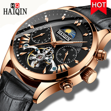 HAIQIN Luxury Bussiness Automatic mechanical Watch men Leather Wristwatch Waterproof Male Self-wind Calendar Clock Montre Homme