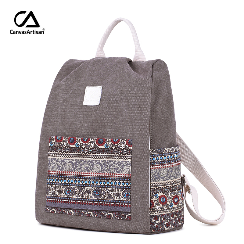 Canvasartisan Women's Canvas Backpack Retro Style Floral School Bookbag Travel Small Backpacks Female Casual Daypack Bags
