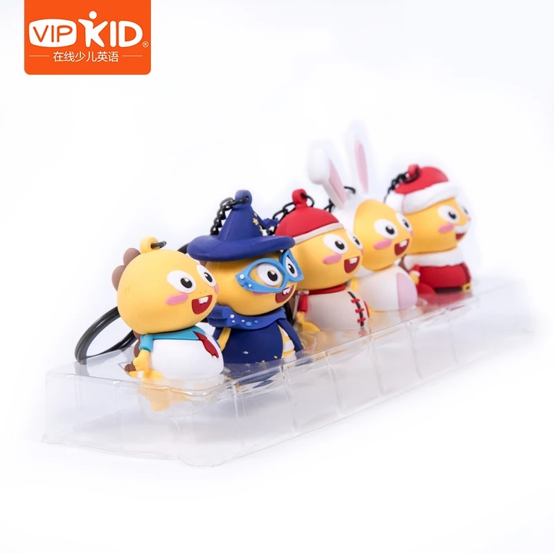 Cute Dino 3D Style Key Chain Set 5 Units VIPKID Accessories To Child Happy Toys For Children Gift In Box 100% Authentic