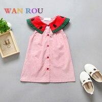 Fashion Newborn Kids Baby Girls Toddler Infant Princess Cute Collar Watermelon Style Infant Pink Dress 1 5 Y Children Dresses