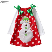 Niosung Fashion Kids Toddler Infant Girls Christmas Snowman Bowknot Dress Clothes Baby Christmas Party Costume