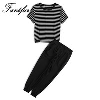 FANTFUR New Two Piece Women S Sets Clothing Black White Stripes Short Sleeve T Shirt And