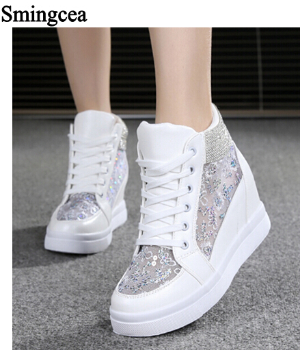 Women's Mesh Breathable Floral Lace Up High Tops Wedge Sneakers Canvas Shoes New