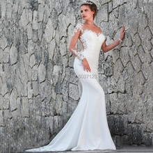 2020 Langarm Meerjungfrau Hochzeit Kleider Appliques Spitze Sheer Scoop Ausschnitt Bodenlangen Braut Hochzeit Kleider Vestidos De Noiva