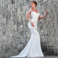 2020 ארוך שרוול בת ים חתונת שמלות אפליקציות תחרה Sheer סקופ מחשוף מקיר לקיר אורך כלה שמלות כלה Vestidos דה Noiva