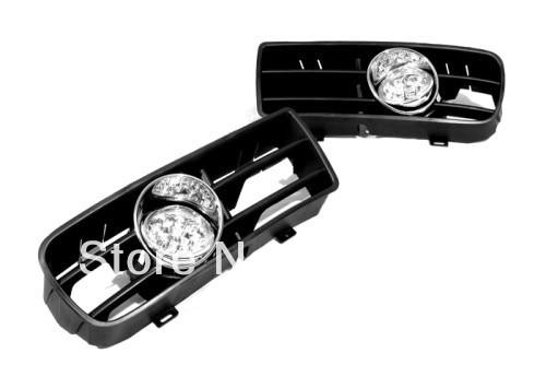 Front Fog Light Kit White LED For VW Golf MK4 bumper grille front fog light kit with led surround for vw golf mk4