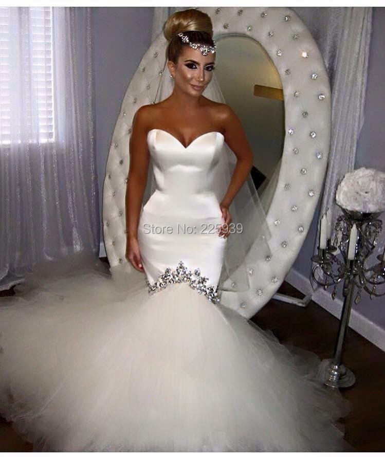 fashion sweetheart fitted nice diamond puffy tulle long mermaid sexy wedding dresses gowns 2016 new plain bridal dress