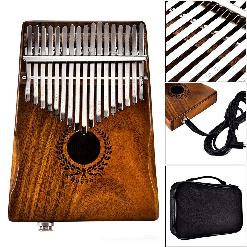 Muspor 17 Keys EQ Kalimba Acacia Thumb Piano Link Speaker Electric Pickup With Bag Cable 17 Keys Calimba Mini Piano Kamfer