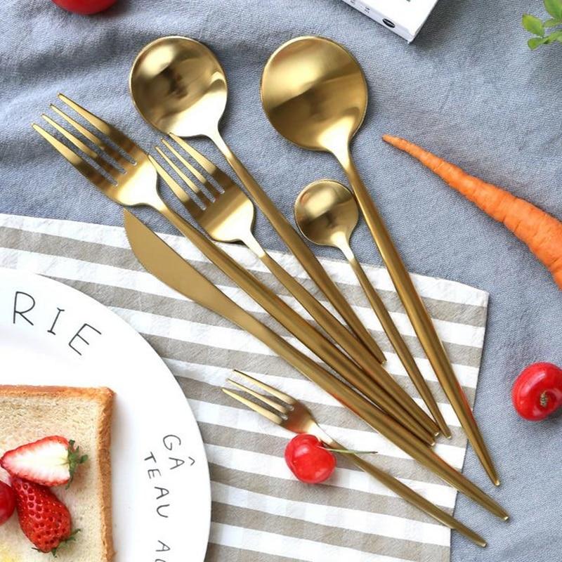 7Pcs Matte Gold Cutlery Gold Tableware Set 18/10 Stainless Steel Dinnerware Fork Knife Set Silverware Set Drop Shipping