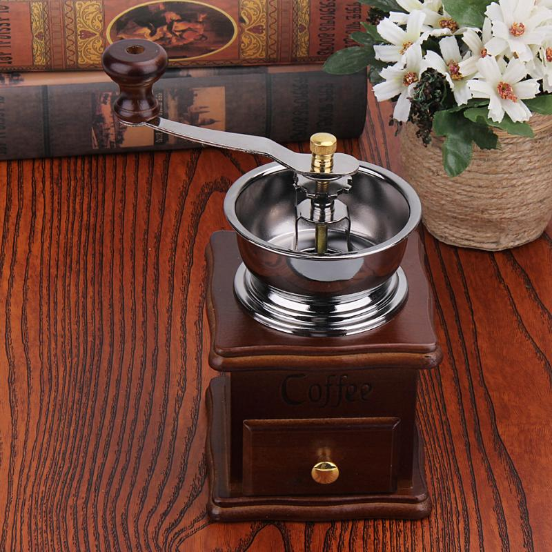 Manual Coffee Grinder Retro Wooden Mill Maker Grinders Coffee Spice Mini Burr Mill Washable Ceramic Millstone Coffee Grinder