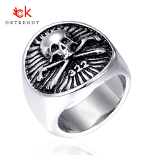 Oktrendy Punk Silver Skull Rings Big Size Mens 316L Stainless Steel Cool Golden 322 Silver Pirate Biker Ring