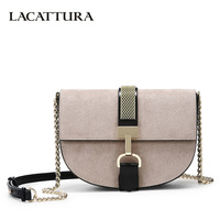 LACATTURA Luxury Handbags Women Crossbody Bags Designer Messenger Saddle Bag Retro Suede Clutch Ladies Small Shoulder