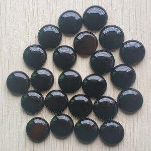 Image 3 - Toptan 20 adet/grup Moda kaliteli Doğal siyah oniks yuvarlak cabochon 20mm boncuk takı aksesuarları için yapımı ücretsiz