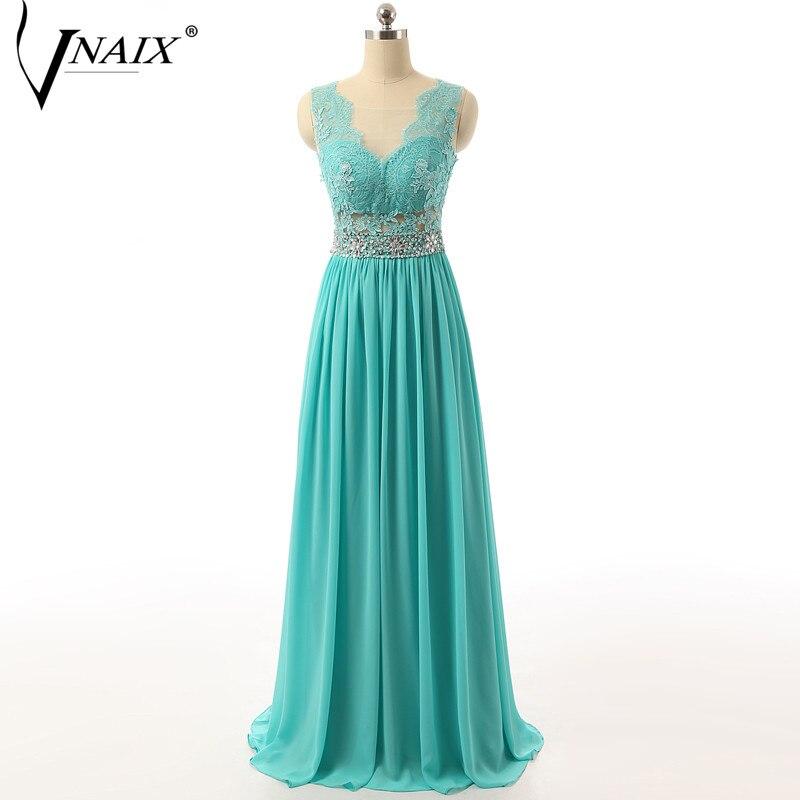 Vnaix E1092 вечерние платья Иллюзия v-образный вырез с аплкиями и бисером длинные шифоновые бирюзовые вечерние платья