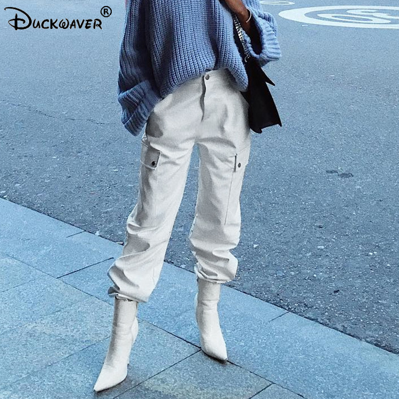 Duckwaver Streetwear Cargo   Pants   Women Casual Joggers Black High Waist Loose Female Trousers Korean Style Ladies   Pants     Capri