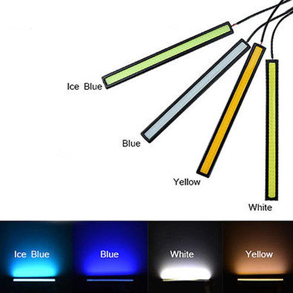 White Blue Ice Blue Red Car Daytime Running Light COB LED 12V DRL Auto Driving Fog Strip Lamp 17CM White