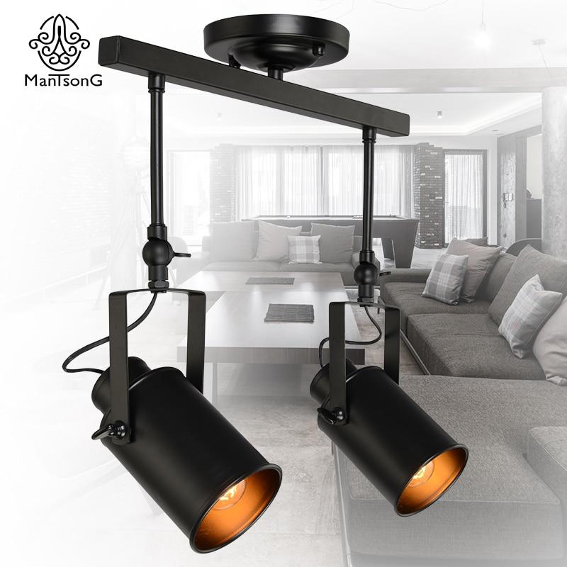 Vintage Kitchen Track Lighting: New Black Loft Industrial Pendant Light 2 Heads Lamp Track