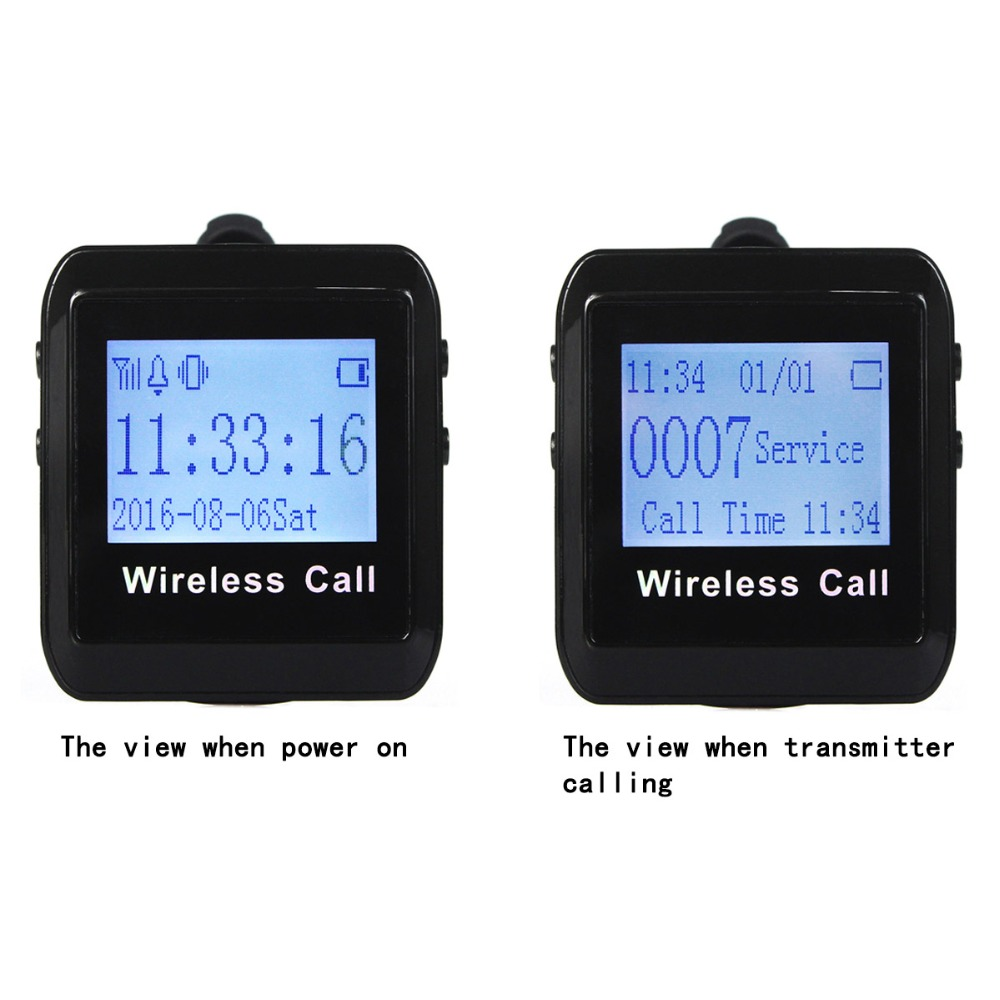2 pcs Wireless Calling Paging System TIVDIO Watch Receiver Host Guest Waiting Pager For Coffee Shop Office Factory 433MHz F3258 wireless calling pager system watch pager receiver with neck rope of 100% waterproof buzzer button 1 watch 25 call button