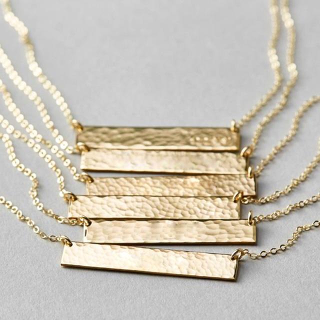 Long Bar Necklace 100% 925 Silver Jewelry Custom Gold Choker Pendants