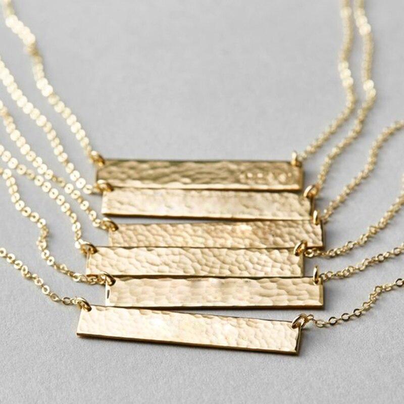 Long Bar Necklace Handmade 100% 925 Silver Jewelry Custom Gold Choker Pendants Collier Femme Kolye Collares Necklace for Women stylish bar layered black choker necklace for women