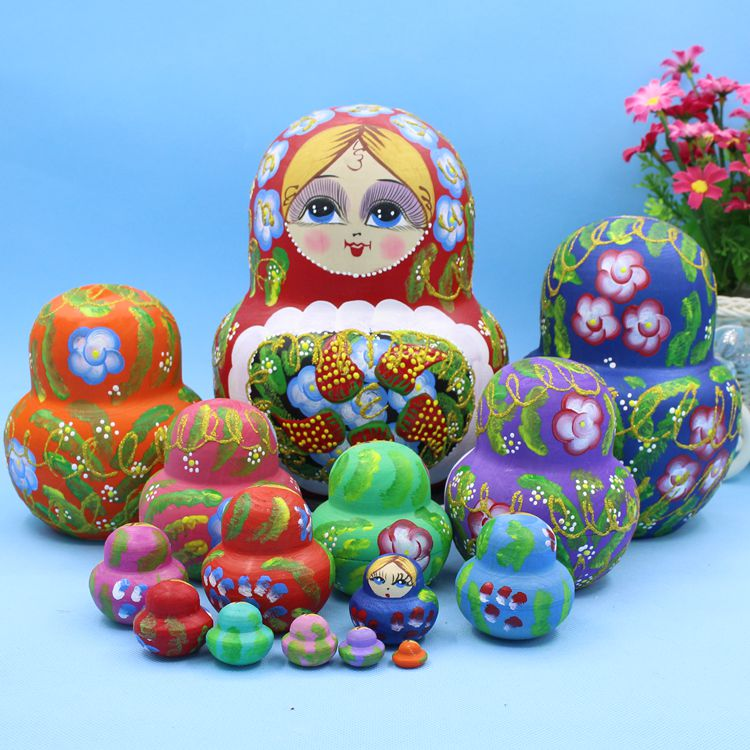 15 pièces 20 cm Poupées Russes En Bois De Dessin Animé Traditionnel Matryoshka Poupées pour Bébé Enfants Jouet et Cadeau - 3