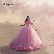 Modest Strapless Ball Gown Wedding Dress With Off Shoulder Court Train Plus Size Pink Bridal Gowns vestido de noiva Custom Made