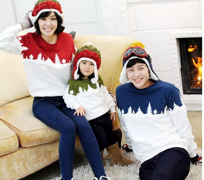 Winter family matching clothes long sleeve Christmas cotton T-shirt Mother Father Baby Family Matching Outfits Family Look