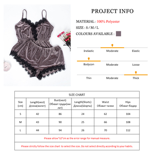 Image 5 - Suphis Womens Sexy Pajamas Sets Brown Velvet Camis Lace Tops Shorts 2 Pieces Female Sleepwear Nightwear Pajama 2019