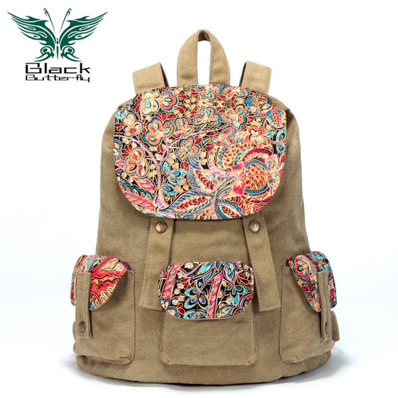 Black Butterfly original design Large Capacity Women backpack Ethnic style Female Canvas shoulder bag travel bag black butterfly original design ethnic style women shoulder bag bohemian style printing tote bag women shopping handbags