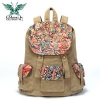 Black Butterfly original design Large Capacity Women backpack Ethnic style Female Canvas shoulder bag travel bag