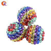 R161 20MM 100Pcs/Lot Red/Green/Blue/Purple/Brown/Yellow Six Color Chunky Stripe Resin Rhinestone Bead For Christmas CDWB-517569