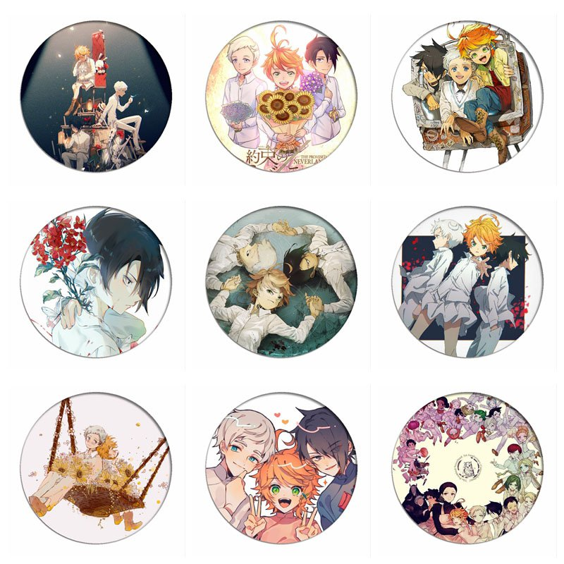 Manga  The Promised Neverland Norman Cosplay Badge Emma Ray Brooch Pins Cartoon Collection Breastpin Badges For Backpacks Icon