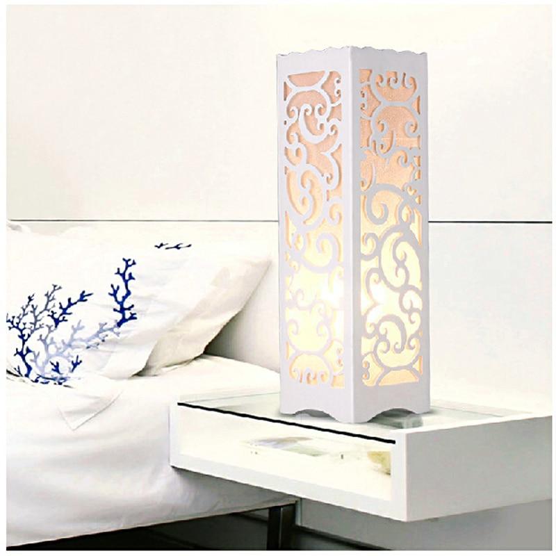 Minimalist ivory white wood plastic plate led table lamp for Table design led