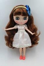 Envío Libre BJD conjunta RBL-207J DIY Desnudo Blyth muñeca regalo de cumpleaños para niña de 4 colores de ojos grandes muñecos con un Cabello hermoso lindo juguete
