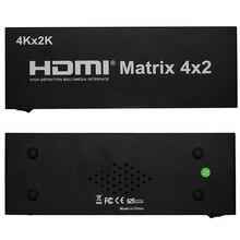 New HDMI Matrix 4X2 Switch Splitter HIFI Matrix 4 in 2 out with Remote Control Audio Supports HDMI V1.4/3D/4Kx2K