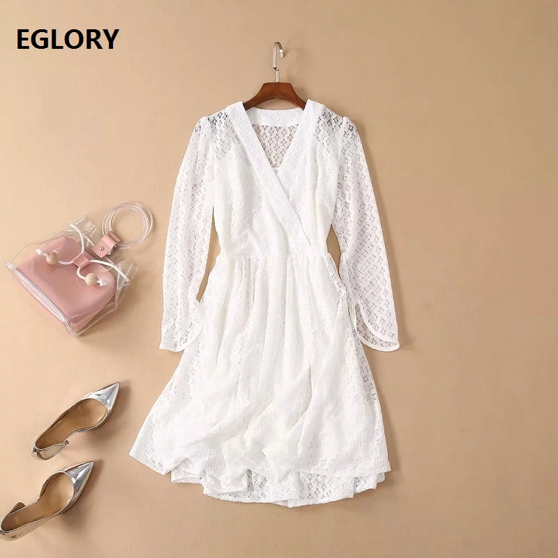 New Celebrity Inspired Women's Dress 2019 Summer Style Ladies V Neck Hollow Out Lace Embroidery Dress White Pink Club Dresses