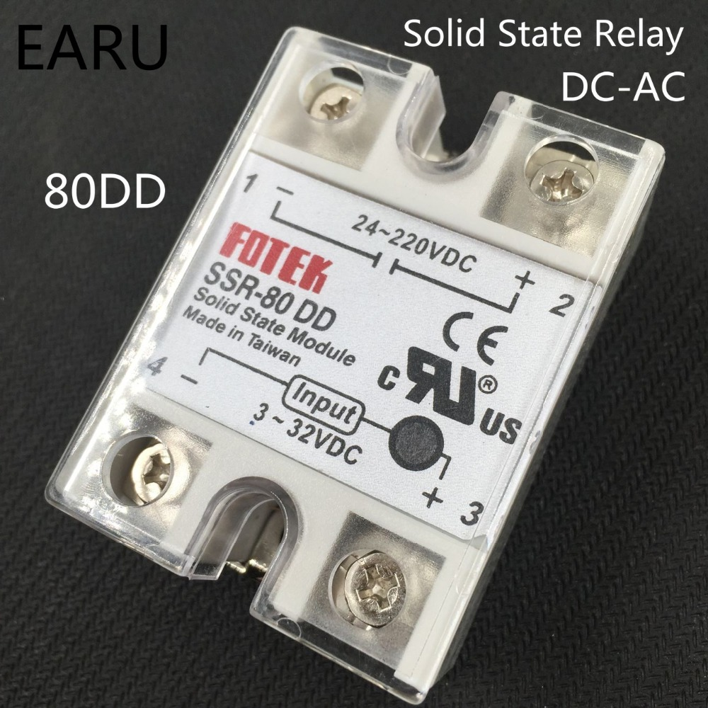 1 pcs solid state relay SSR-80DD 80A 3-32V DC TO 5-60V DC SSR 80DD relay solid state good quality SSR-80 DD Factory Wholesale new and original sa34080d sa3 4080d gold solid state relay ssr 480vac 80a