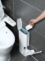 Free trash bags + Narrow seam toilet brush trash can paper basket integrated suit bathroom toilet free punch cleaning brush