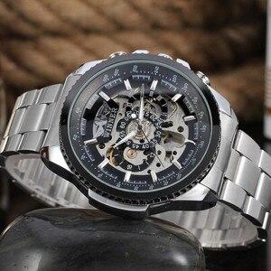 Image 4 - 2018 זוכה אופנה עיצוב שחור מכאני פלדת שעון אוטומטי שעונים גברים שחור נירוסטה עסקי רצועת Relogio זכר 428