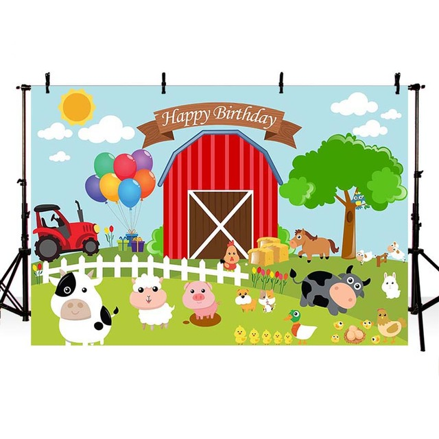 Farm Theme Photography Backdrop Red Barn Barnyard Tractor Balloons Animals Fence Garden Custom Photo Studio Background