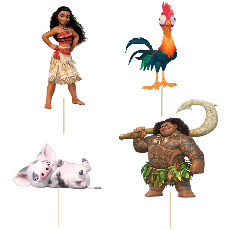 24pcs/set Moana Princess Maui cupcake topper picks Kids birthday party decoration Cake Baking Event Party Wedding Supplies цена