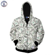 2017 Mr.1991INC hot sell zipper jacket for men/women hoody 3d sweatshirt print money dollars hooded hoodies autumn tops