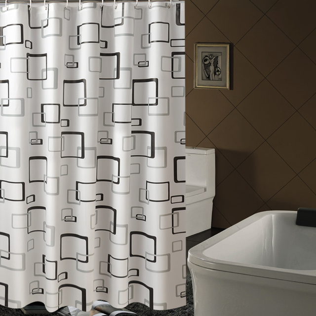 Brand New Peva Bathroom Curtain Luxury White And Black Geometry Style Mould Resistant Waterproof Bath
