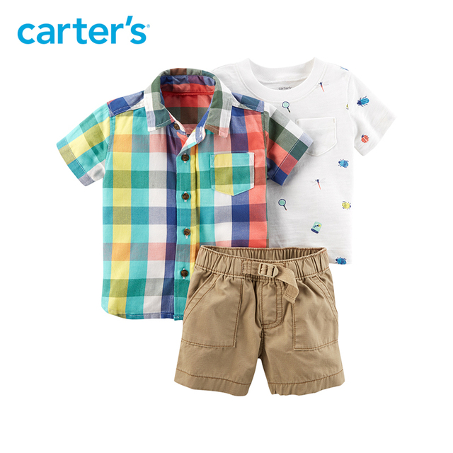 63440cc92 Carter's 3-Piece baby children kids clothing Boy Summer Plaid Outfit Set  127H028